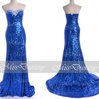 Sequin Prom Dresses, 2014 Prom Dresses, Mermaid Strapless Sequined Royal Blue Prom Dresses, Royal Blue Evening Gown, Wedding Party Dresses