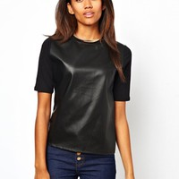 River Island Leather Look Front Top