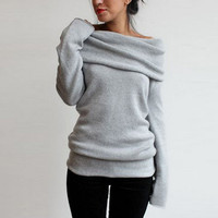 Heathered Turtleneck Off-the-Shoulder Knit Sweater