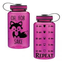 Oh, For Fox Sake 34oz Water Intake Tracker. Gym Water Bottle. Personalized Water Bottle. Hourly Reminders. Healthy.
