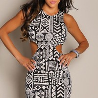 Trendy Cream and Black Tribal Print Cut-Out Dress