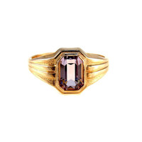 Rose de France Amethyst Gold Signet Ring