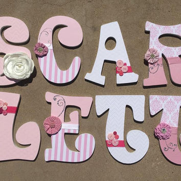 Pink and Dazzled Wooden Letters for a Girls Nursery or Bedroom, Girls Nursery Decor, Girly Wooden Letters, Pink Wooden Letters, Girl Initial
