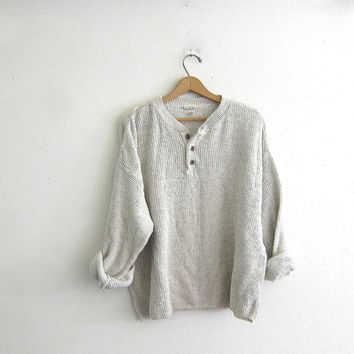 Vintage henley sweater. pale Oatmeal / Off white boyfriend sweater. Button front sweater. Textured cotton sweater.