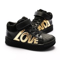 EZELEVEN 2018 Autumn high top boys girls leather sneakers children kids shoes