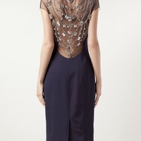 Lela Rose Crystal Embroidered Dress