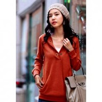 Casual Style Solid Color Snaps Embellished V-Neck Long Sleeves Cotton Blend Fleece Hoodie For Women