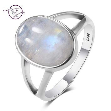 Hollow Out Natural Rainbow Moonstone Rings 925 Sterling Silver