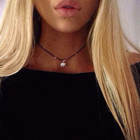 Silver Elephant and bead Black cord choker necklace
