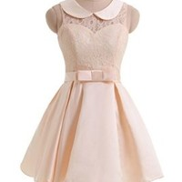 Gorgeous Bridal Junior's Mini Prom Dress Cute Peter Pan Collar (XL)