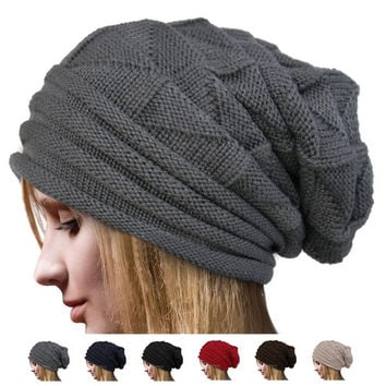 Autumn Winter Fashion Unisex Knit Crochet Solid Warm Baggy Beanie Hat Oversized Slouch Cap [8384048391]