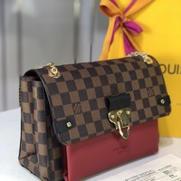 hcxx 1015 Louis Vuitton Saint Placide Damier Ebene Fashion Handbag 25-18-10cm Red Brown