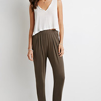 Pleat-Front Tapered Pants