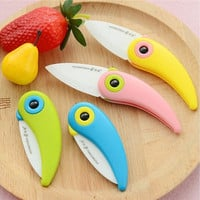 Cute Bird Pattern Folding Cutlery Ceramic Fruit Knife Outdoor Activities Camping Home Kitchen [8833978188]