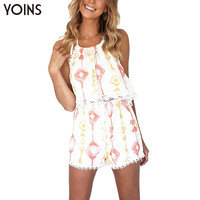 YOINS New 2016 Women Fashion Sleeveless Halter Neck Backless Crop Tops with Lace Details Elastic Wasited Shorts Sets 2 Pieces