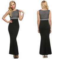 Women Sleeveless Sexy Bodycon Patchwork Party Cocktail Evening Long Maxi Dress Full Gown