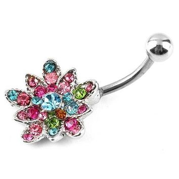 Rhinestone Flower Crystal Belly Button Bar Stainless Navel Ring Colorful Body Piercing 5UEO 6SBH 7J3Y