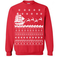 The Nautical Ugly Christmas Sweater Flex Fleece Pullover Classic Sweatshirt - S M L XL and XXL (3 Color Options)