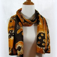 Brown and gold silk sari or saree scarf handmade by Patchtique
