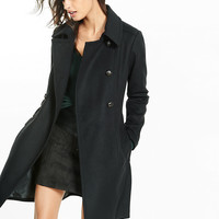 Black Wool Blend Belted Trench Coat