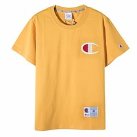 Champion Summer New Fashion Embroidery Logo Women Men Top T-Shirt Yellow