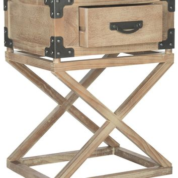 Dunstan Accent Table With Storage Drawer Washed Natural Pine