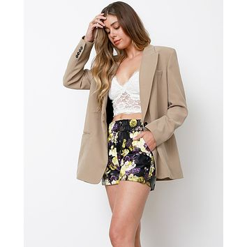 Spring Forwards Faux Leather Shorts - Purple Print