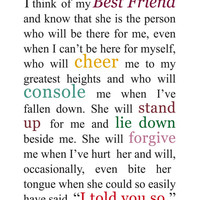Best Friend Quote - Gift for Best Friend - Best Friend Quotation - Best Friend Gift - Girl Friend Present