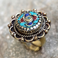 Coral Turquoise Stone Ring,Carved Ring,Nepali Tibetan Ring,Ethnic Ring,Nepalese Jewelry,Hippie Flower Ring,Adjustable Ring,Boho Gypsy Ring