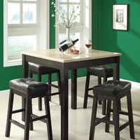 Cappuccino / Beige Faux Marble 5Pcs Counter Dining Set