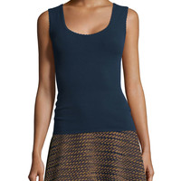 Solid Tank W/ Scalloped Trim, Size: