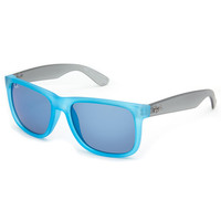 Ray-Ban Justin Sunglasses Rubber Azure/Poly Blue Mirror One Size For Men 23434720001