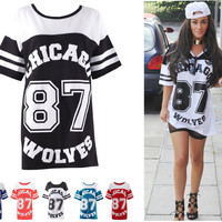 Copy of Women Oversized Chicago 87 Baggy Top Ladies Fish Net Varsity Baseball T Shirt