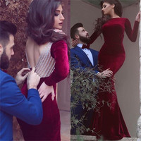 2017 New Arrival Long Sleeves Red Backless Prom Dresses Boat Neck Sweep Train Formal Evening Party Gown Vestido De Festa