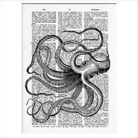 Vintage Dictionary Paper -Octopus Dictionary Art Print