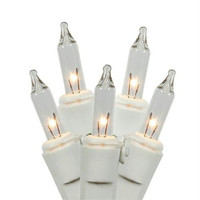 Clear Mini Christmas Lights - 50 Bulbs On White Wire
