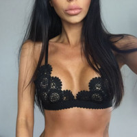 Sexy Women's Hollow Lace Bralette