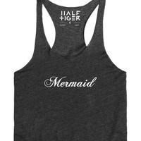 Mermaid at the Beach White Print-Female Heather Onyx Tank