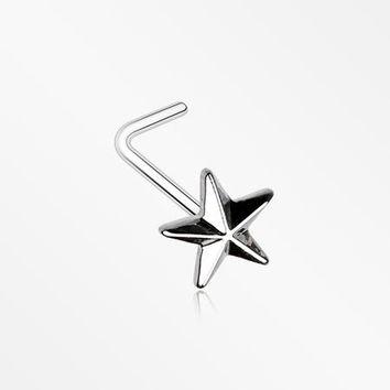 Nautical Star Icon L-Shaped Nose Ring