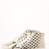 Farah Quilted Metallic Flatform Trainer
