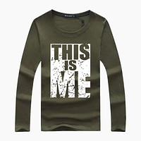 Letter Printed O-Neck Cotton T-Shirt Men Long Sleeve Plus Size Casual T-Shirts Male Tees Shirt