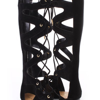 Black Cut Out Lace Up Open Toe Gladiator Sandals Faux Suede