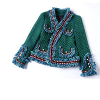 2017 New Luxury Fashion Runway Green Tweed Jacket Fringed Trim Long flared sleeves front pockets with pearls detail