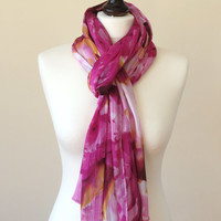 Delivery in 1-5 Days, Spring Scarf, Pink Burgundy Watercolor Lightweight Scarf, Silky Chiffon Rectangle Scarf, Oversize Scarf, Designscope
