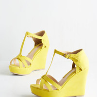 ModCloth Platforms and Functions Wedge in Lemon