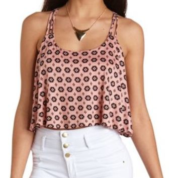 Strappy Tribal Print Swing Crop Top by Charlotte Russe - Peach Combo
