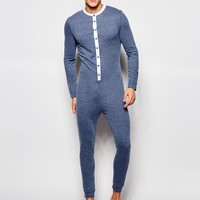ASOS Loungewear Grandad Onesuit In Nepp Fabric With Woven Placket at asos.com