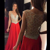 fashion luxury red long prom dress 2016 elegant low chest crystal beaded women pageant gown formal evening party hens night