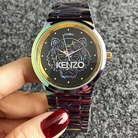 KENZO Popular Women Men Cool Movement Quartz Watch Couple Wristwatch Colorful