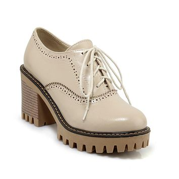 Round Head High Heelss Lace Up Oxford Shoes Woman